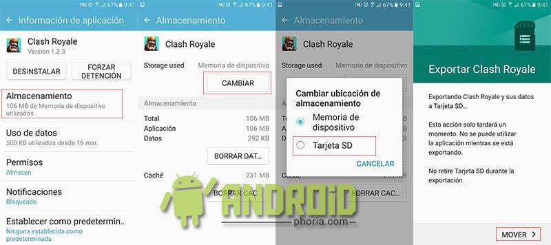 Mover aplicaciones a SD en Galaxy S7