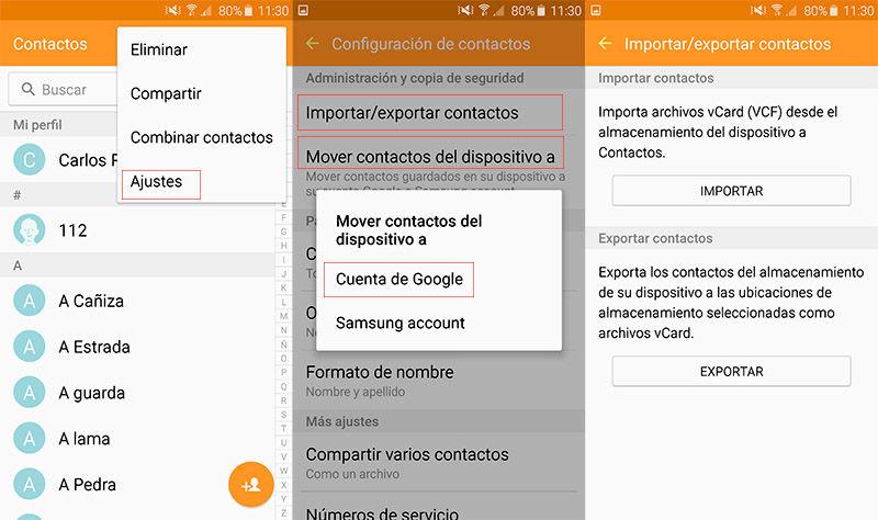 Mover contactos a cuenta de Google