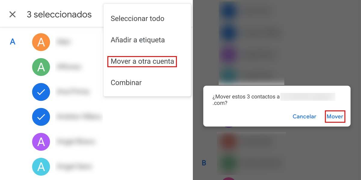 Mover contactos entre cuentas de Google