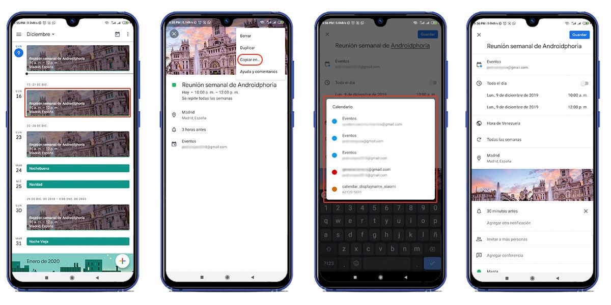 Mover eventos de una cuenta a otra Google Calendar
