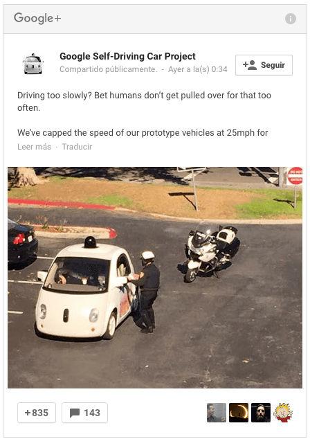 Multan a un coche de Google por ir demasiado lento