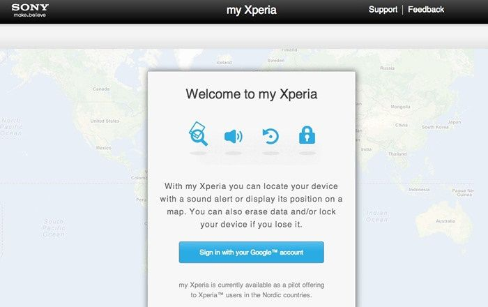 My Xperia servicio Google