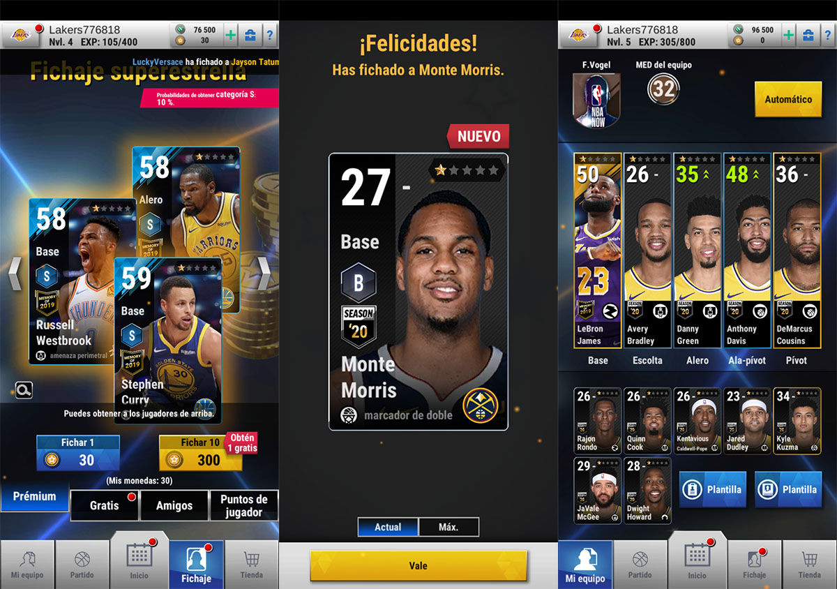 NBA Now equipos y jugadores
