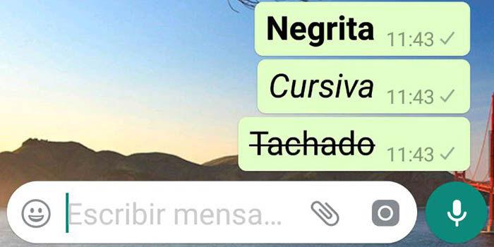 Negrita cursiva tachado en WhatsApp