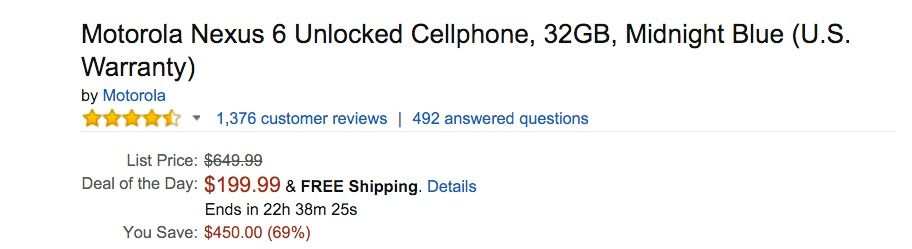 Nexus 6 oferta Amazon