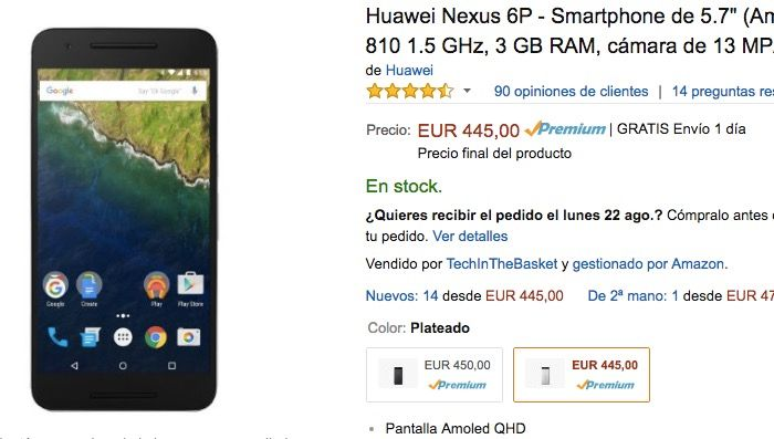 Nexus 6P por 450 euros en Amazon