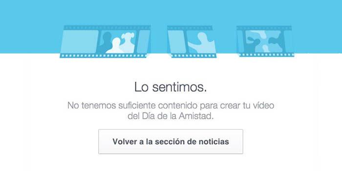 No hay contenido dia amistad Facebook