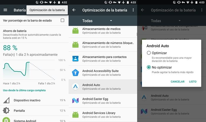 No optimizar aplicación de Android Auto