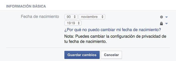 No puedo cambiar fecha de nacimiento en Facebook