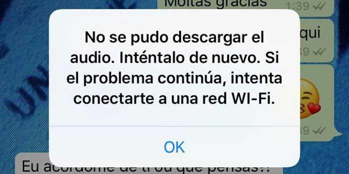 No se pudo descargar el audio WhatsApp