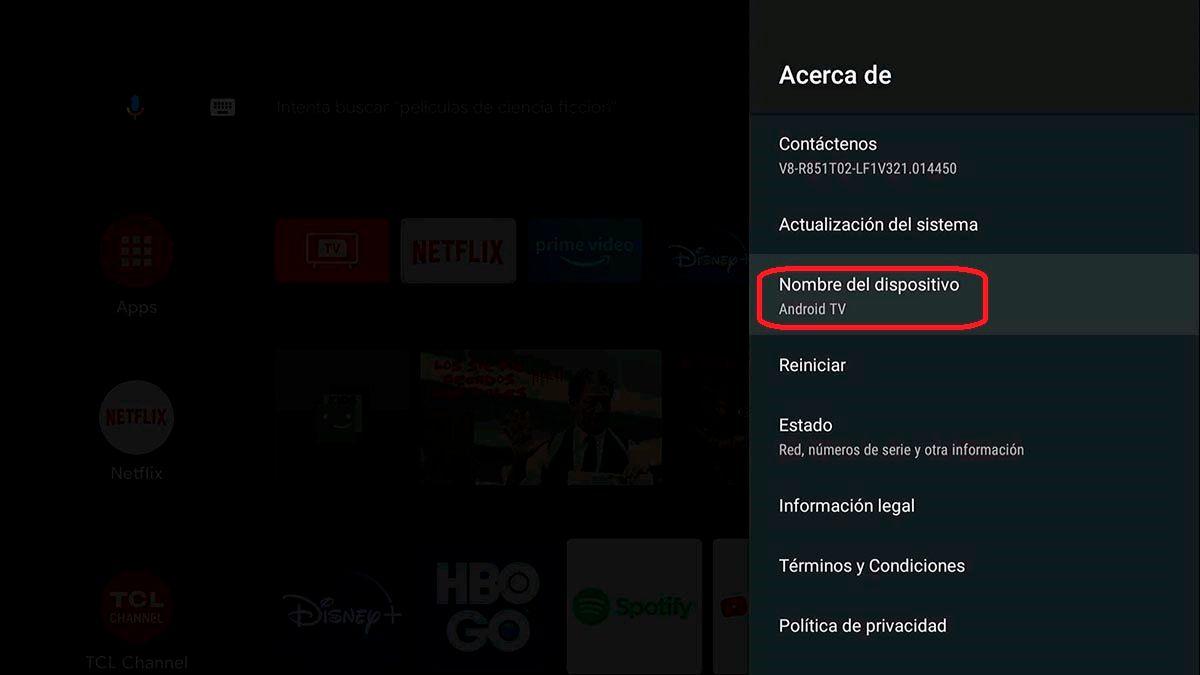 Nombre del dispositivo Android TV