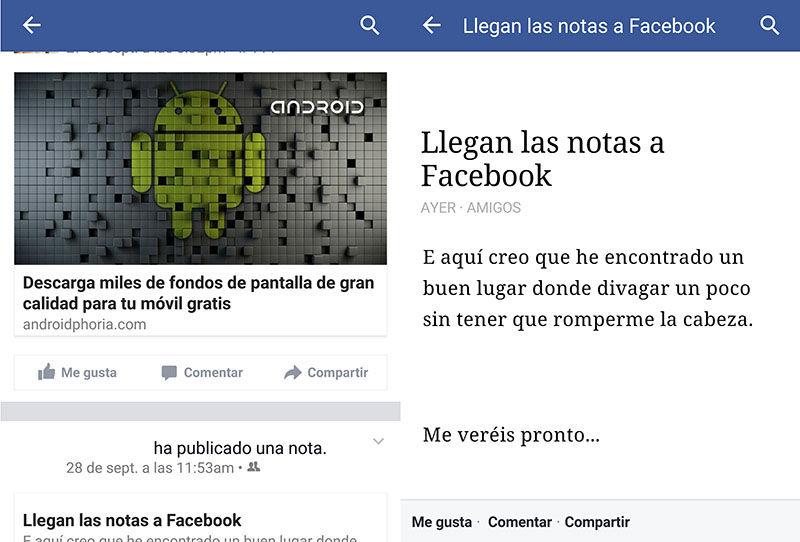 Notas de Facebook en Android
