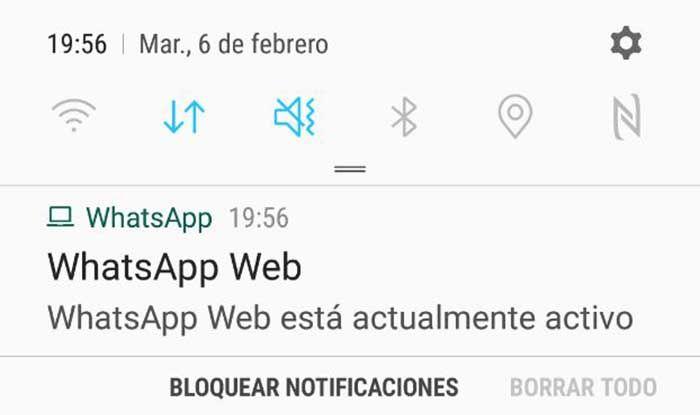Notificacion uso WhatsApp Web