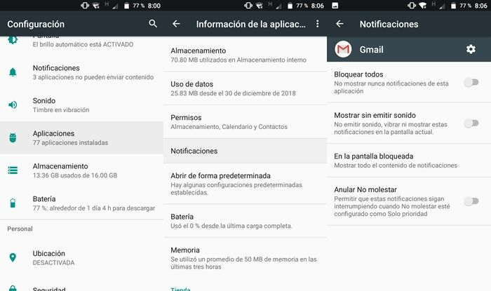Notificaciones Android de Gmail