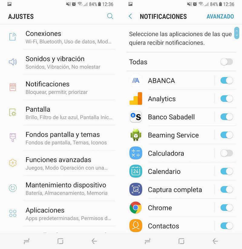 Notificaciones Galaxy S8