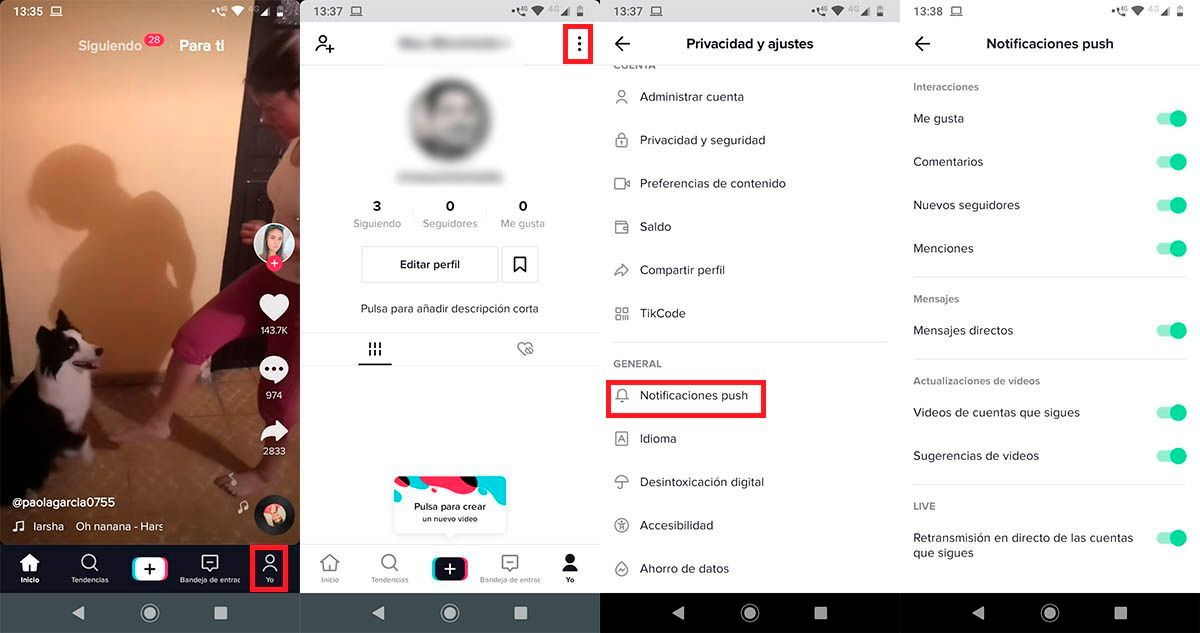 Notificaciones TikTok