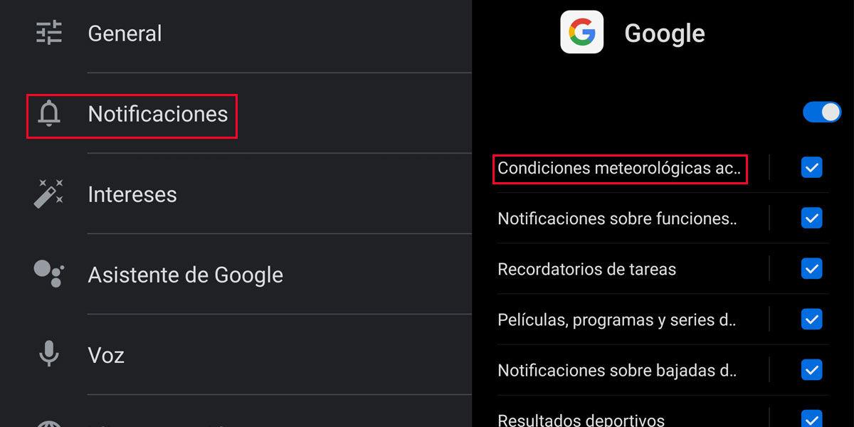 Gestionar notificaciones en la aplicación Google