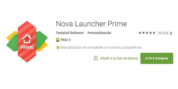 Nova Launcher Prime en oferta