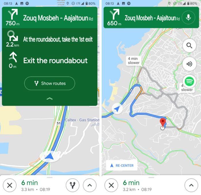 Nueva interfaz de navegación de Google Maps