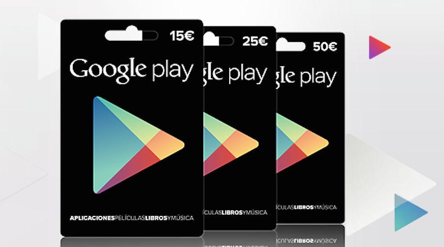 Nueva tarjeta de regalo de Google Play con el importe que elijas