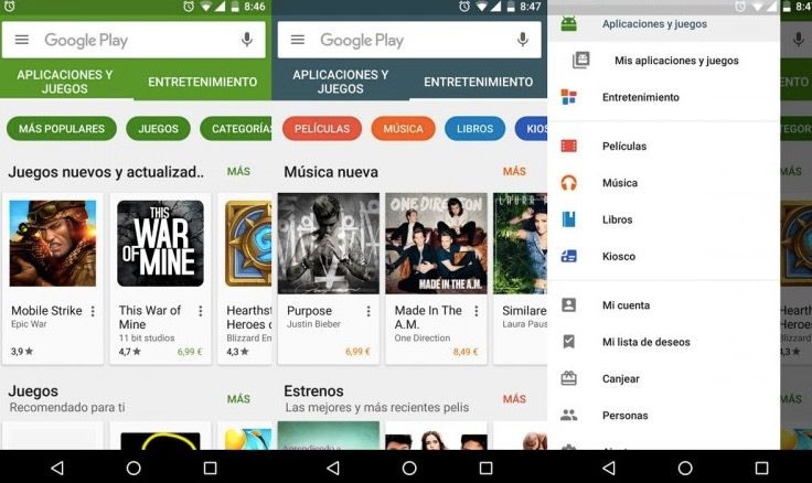 Nueva versión Google Play 6.0.0