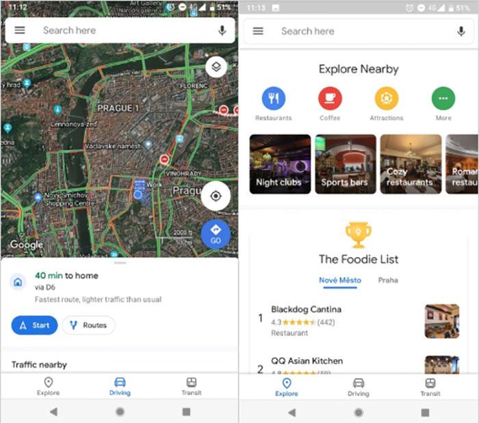 Nuevo diseño para Google Maps