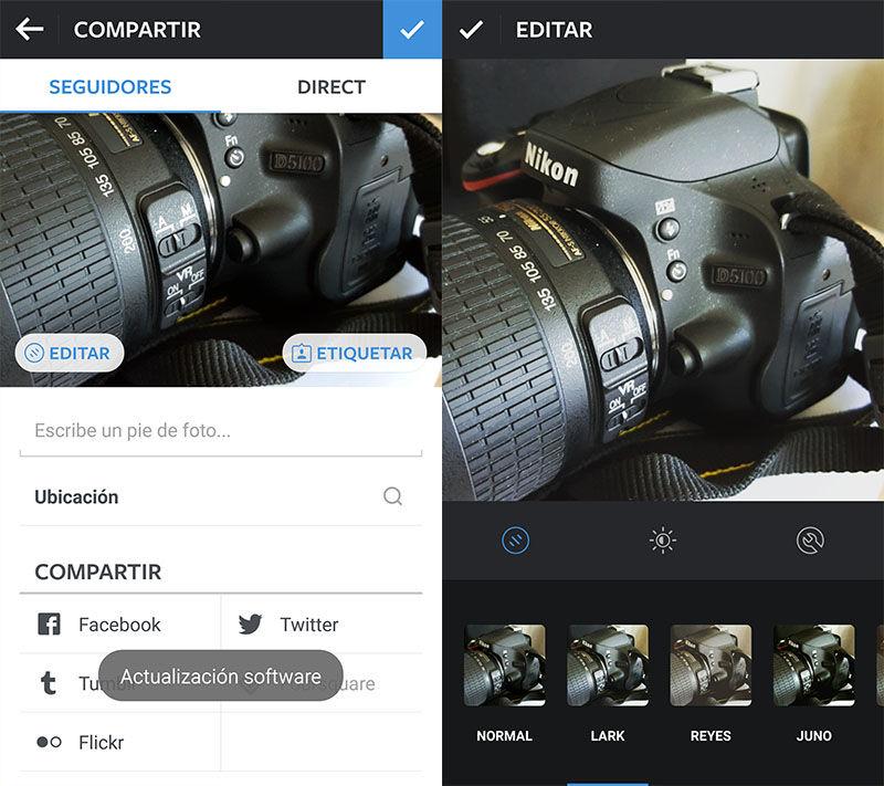 Nuevo editor de fotos de Instagram