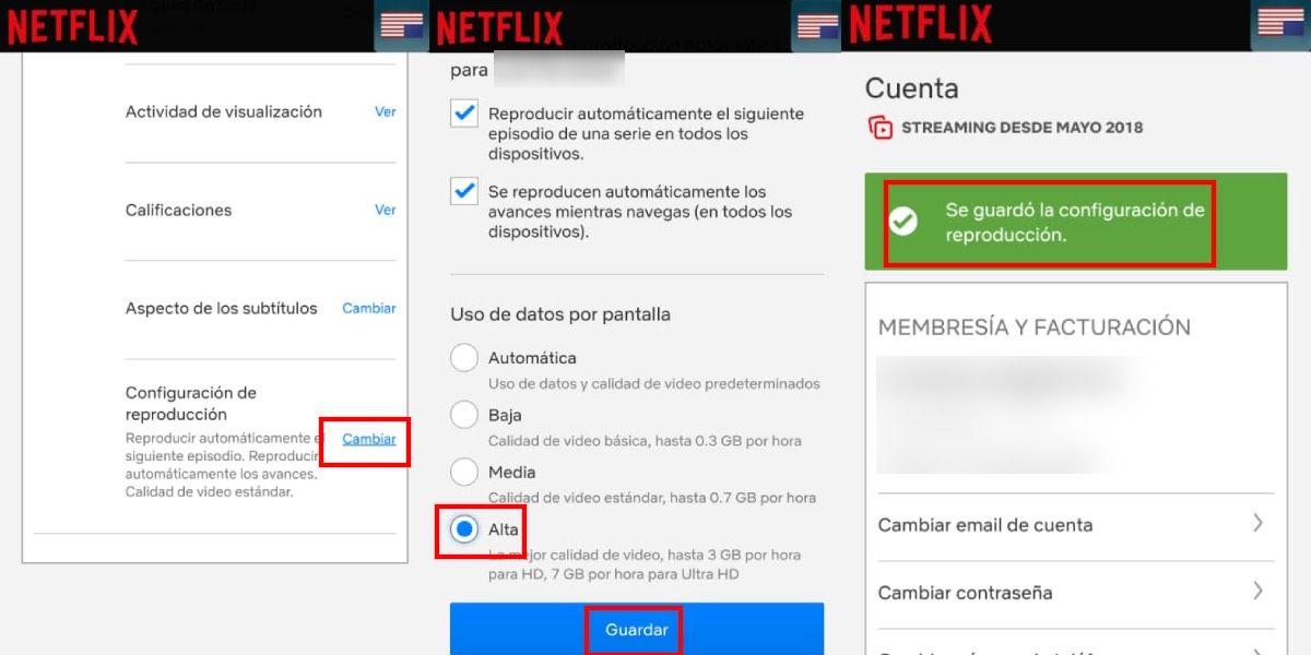 Cambia la resolución de Netflix