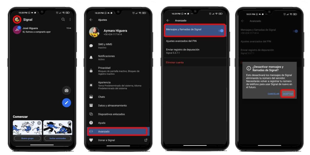 Nuevo registro de Signal en Android