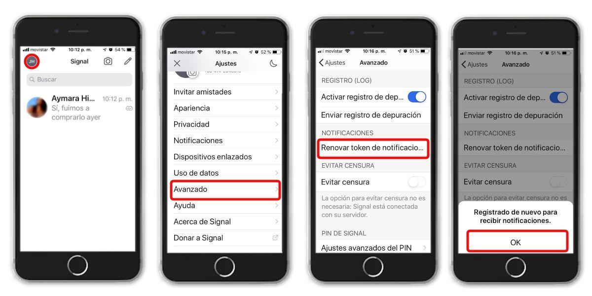 Nuevo registro en Signal desde iOS