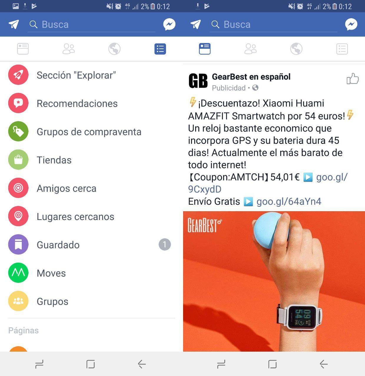 Nuevos iconos Facebook Android