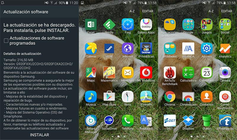 Nuevos iconos actualizacion Galaxy S6
