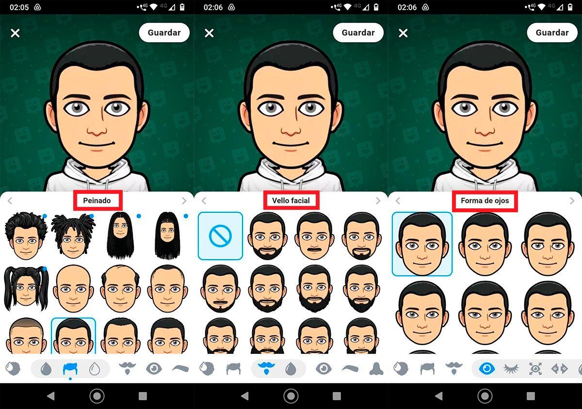 Nuevos peinados y barbas bitmoji Snapchat