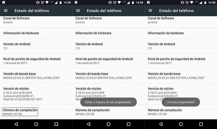 Numero de compilacion en Android
