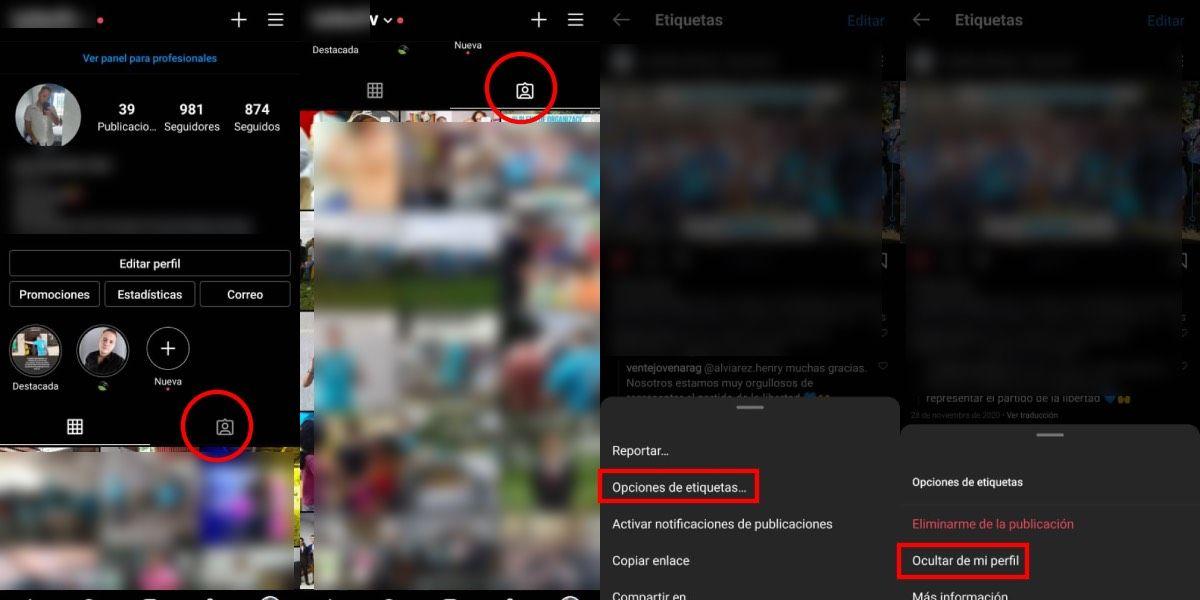 Ocultar etiquetas en instagram