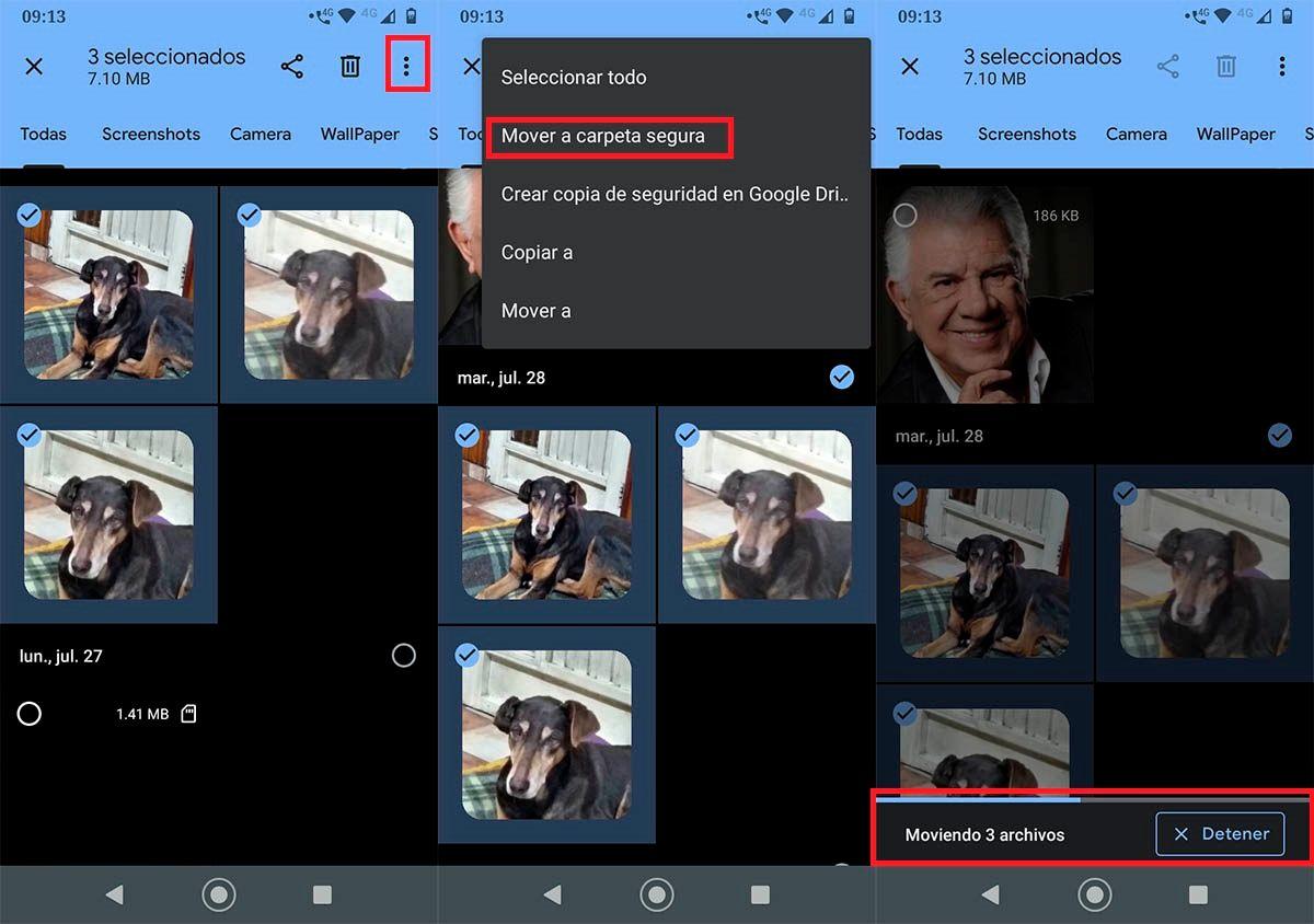 Ocultar fotos videos Google Files