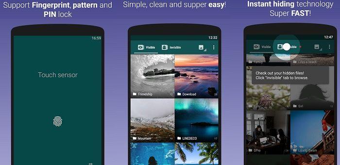 Ocultar fotos vídeos app