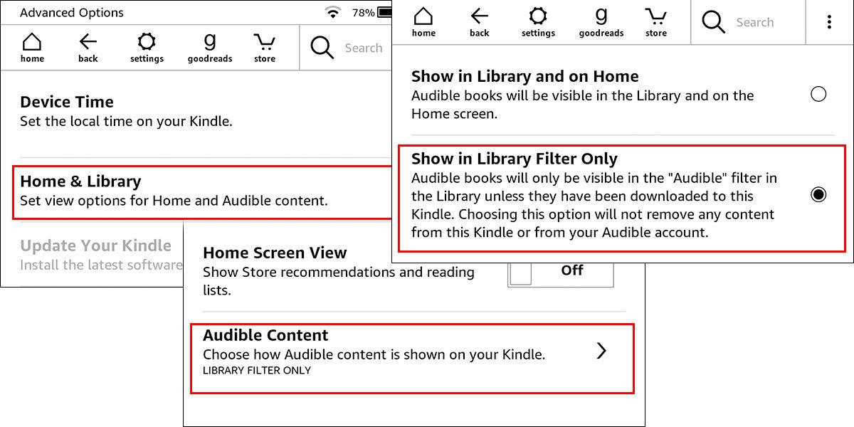 Ocultar los audiolibros Audible de tu biblioteca de Kindle para buscar más cómodamente