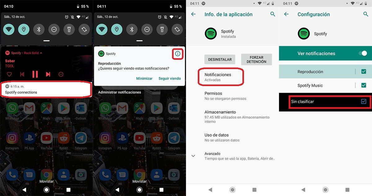 Ocultar notificaciones Spotify Connections