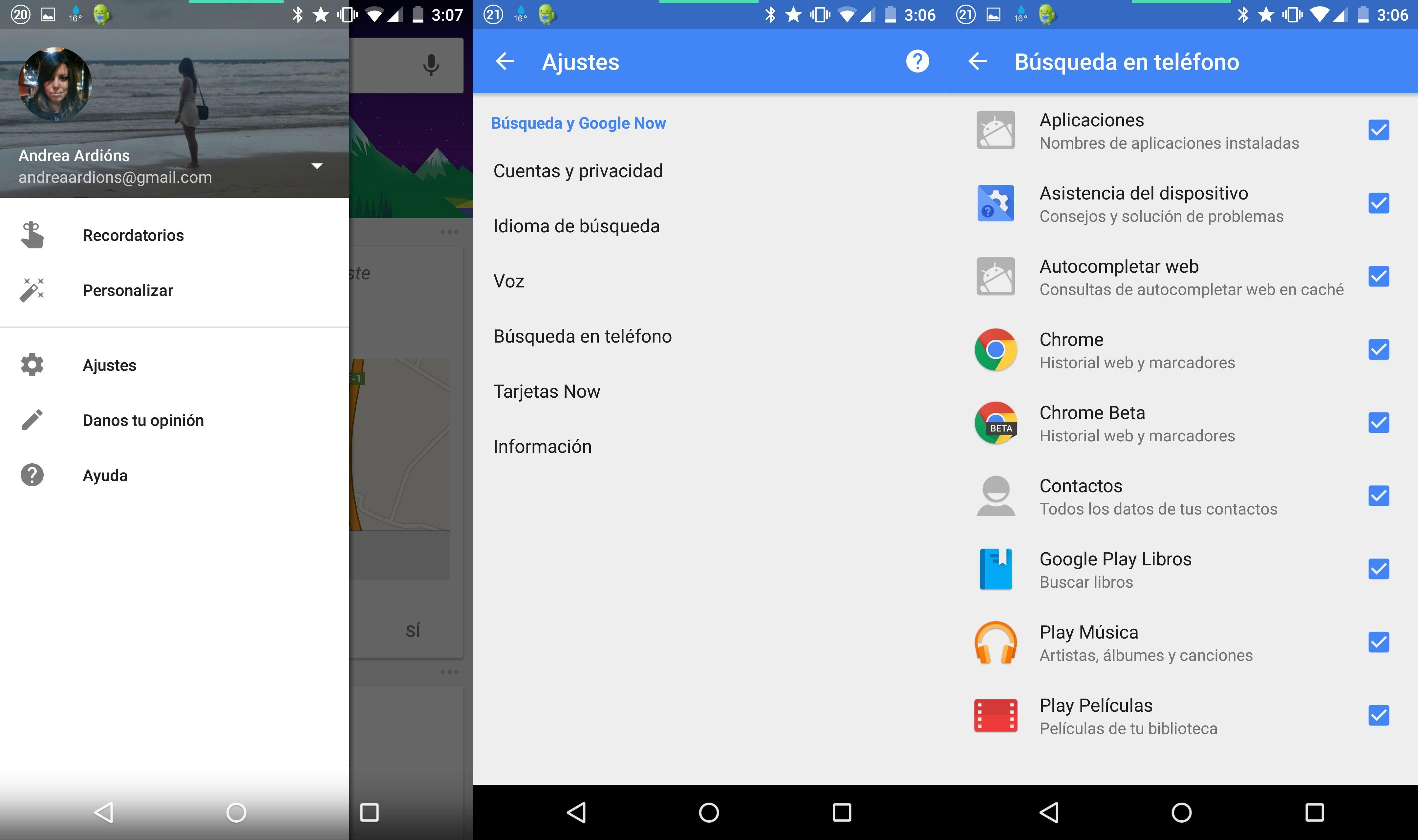 Ocultar tarjetas de búsquedas en Google Now