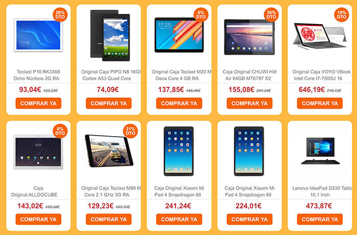 Ofertas tablets Banggood Hispanidad