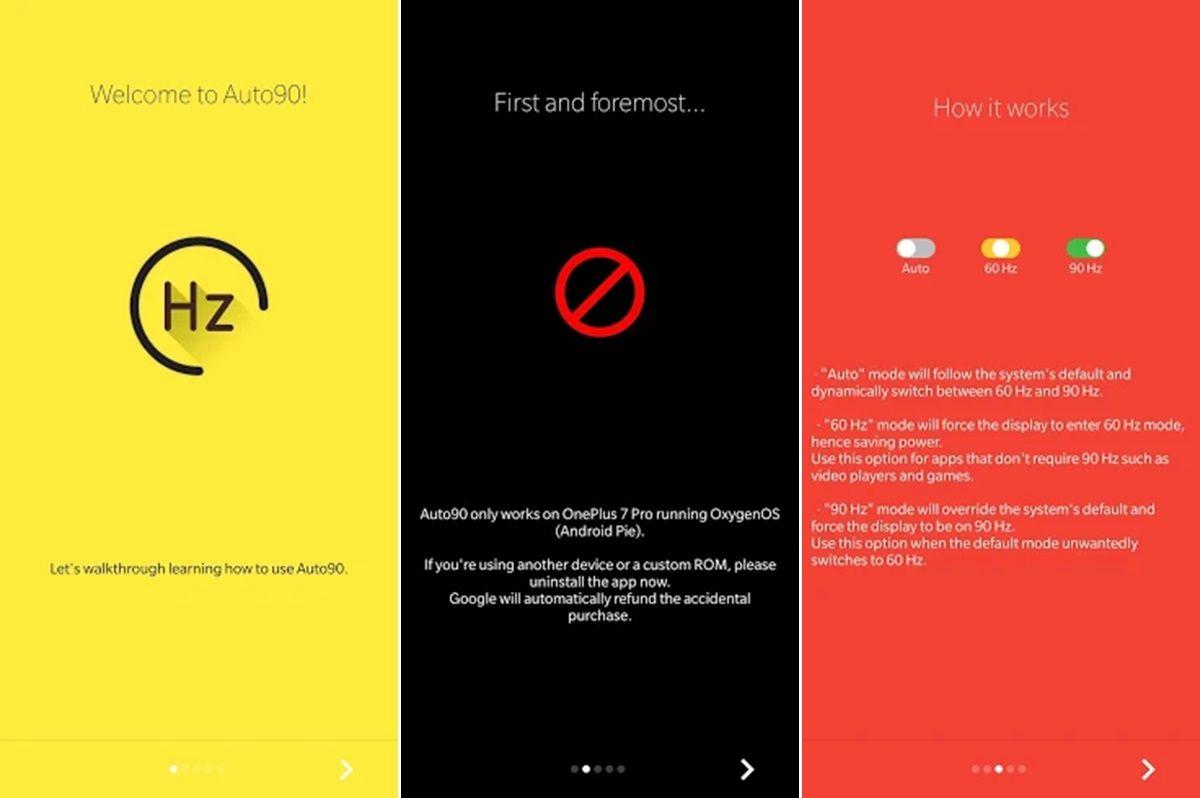 One Plus 7 pro Auto90 app