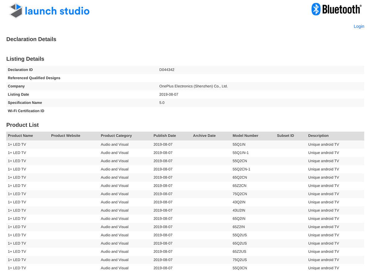OnePlus televisores registrados la web de Bluetooth