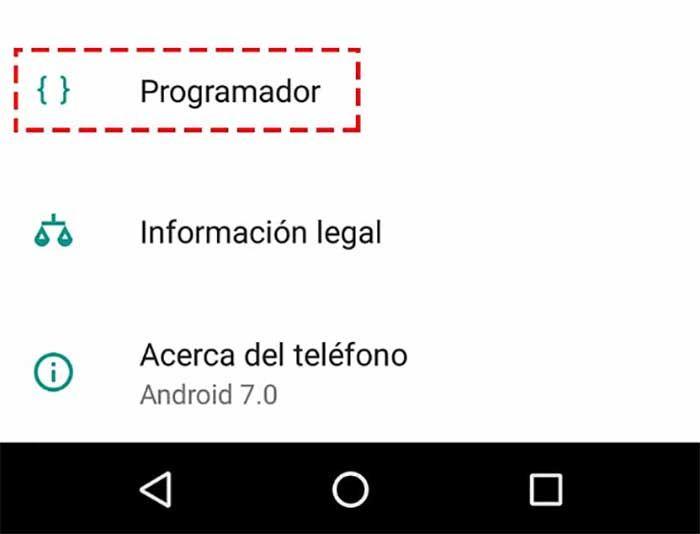 Opcion de programador en Android