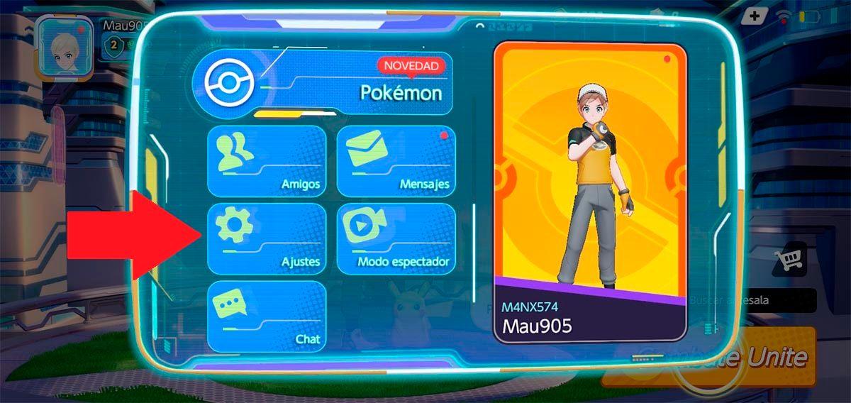 Opciones Pokemon UNITE