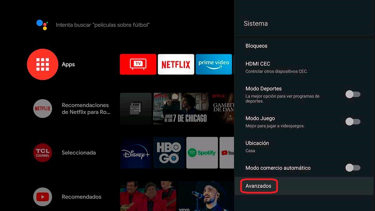 Opciones avanzadas Android TV