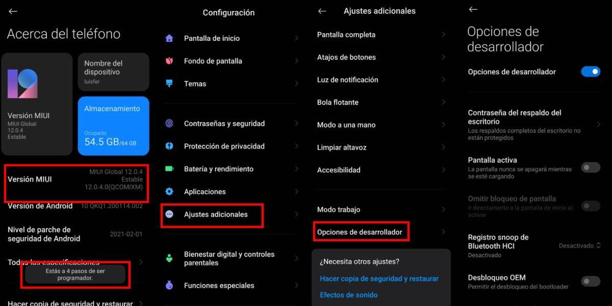 Opciones de desarrollador Xiaomi