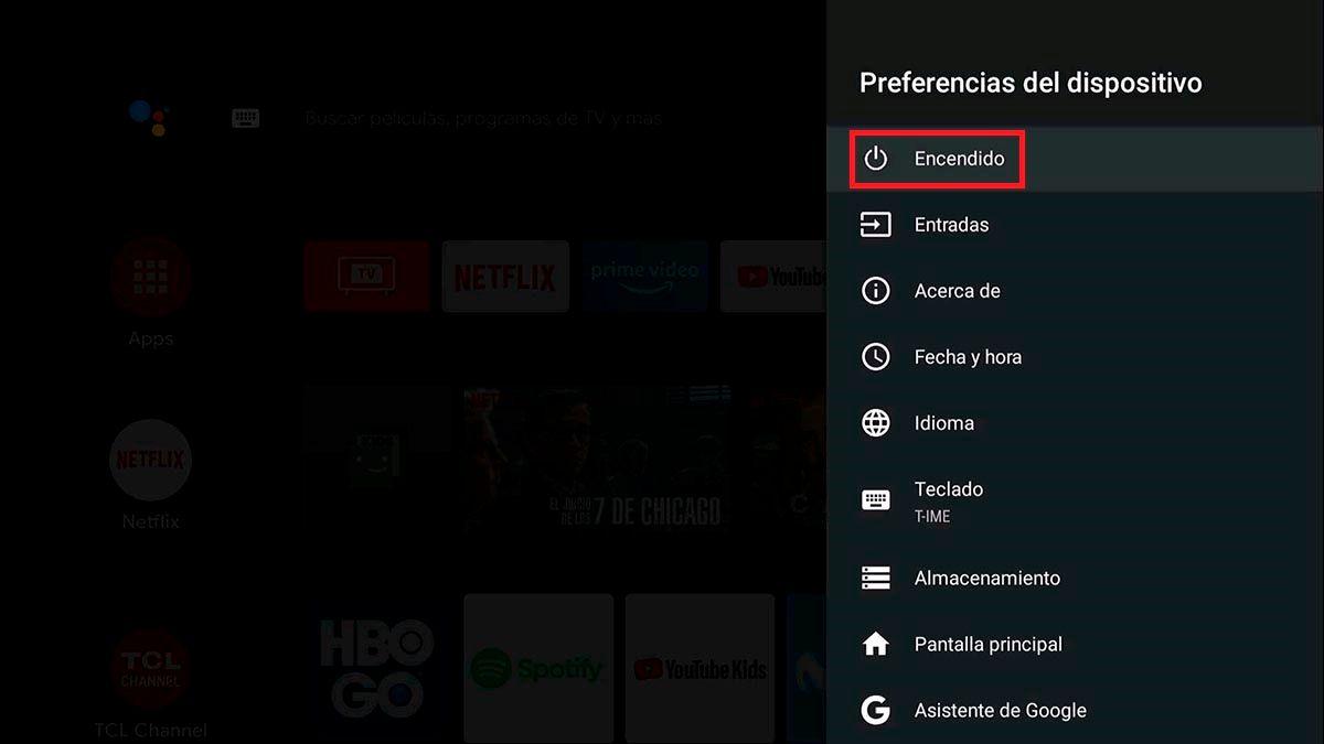 Opciones de encendido Android TV
