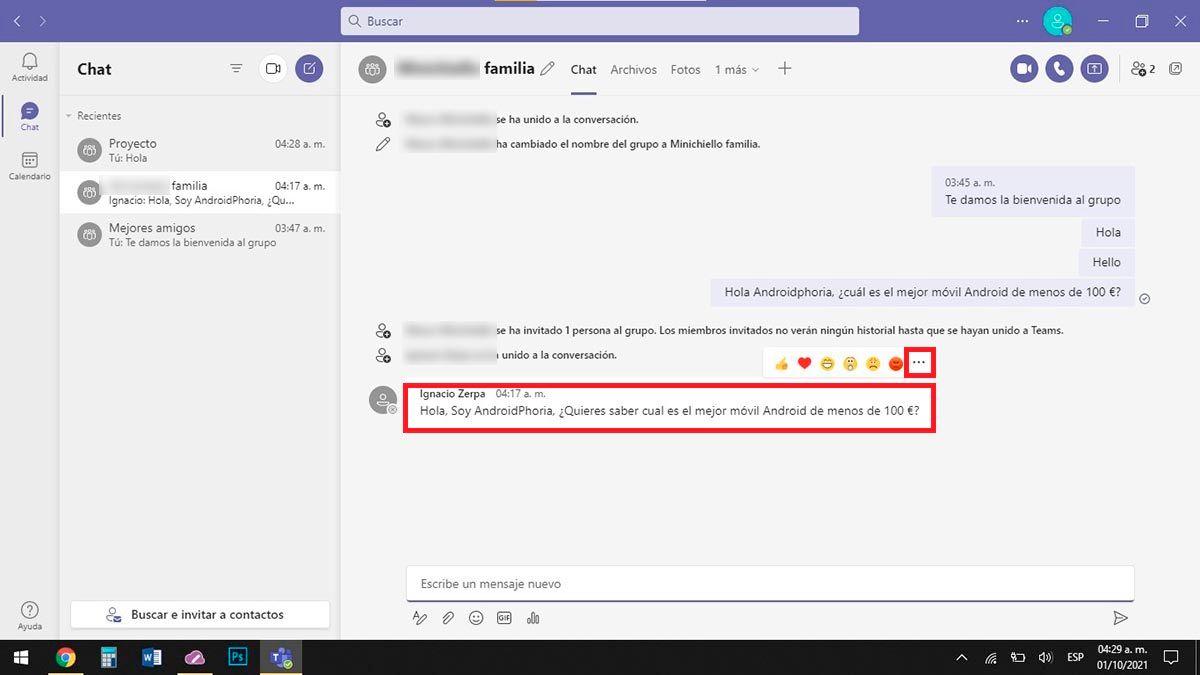 Opciones de mensaje Microsoft Teams PC