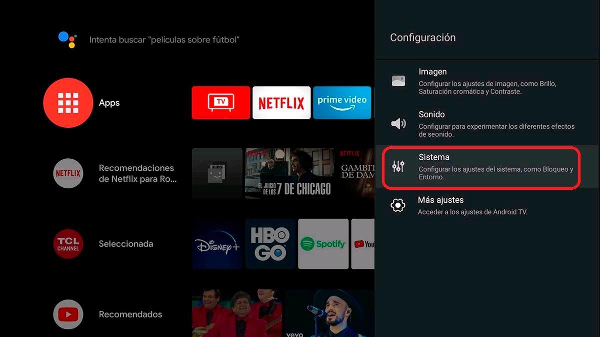 Opciones de sistema Android TV